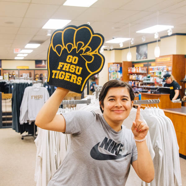 a student in FHSU Tiger Spirit Shop