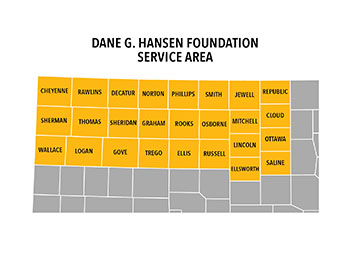 Map of the 26-county Dane G. Hansen Foundation service area